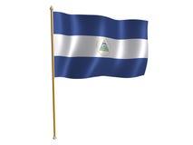 De zijdevlag van Nicaragua Stock Foto
