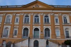 De zijdewerken die van San Lucio, Caserta, weefgetouwen de zijde van de Bourbon weven stock afbeeldingen