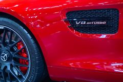 De zijopening van Mercedes Benz AMG GT V8 BITURBO stock afbeelding