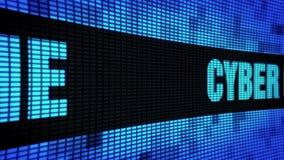De Zijtekst die van de Cybermisdaad LEIDEN Muurcomité de Raad van het Vertoningsteken scrollen stock video