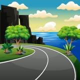 De zijweg van het land dichtbij het strand en het tropische overzees vector illustratie