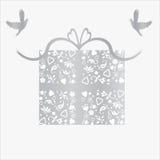 De zilveren 25ste Kaart van de Gift van de Verjaardag van het Huwelijk Stock Afbeelding