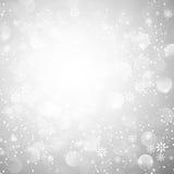 De zilveren Achtergrond van Kerstmis van de Sneeuwvlok Stock Foto