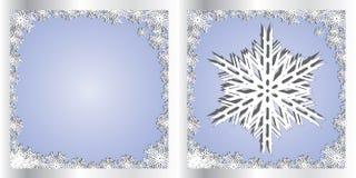 De zilveren Blauwe Sneeuwvlok van de kaart van Groeten Royalty-vrije Stock Afbeeldingen