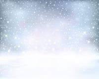De zilveren blauwe winter, Kerstmisachtergrond met sneeuwval Royalty-vrije Stock Foto