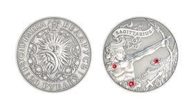 De zilveren Boogschutter van het muntstuk Astrologische teken stock afbeeldingen