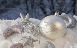 De zilveren decoratie van Kerstmis Stock Fotografie