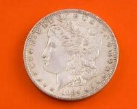 De zilveren dollar van Morgan stock afbeelding