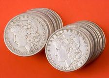 De zilveren dollars van Morgan royalty-vrije stock afbeelding