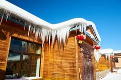 De zilveren dooi van huis van de sneeuwstad van China ` s Royalty-vrije Stock Foto