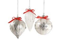 De zilveren Geïsoleerdec Ornamenten van Kerstmis stock afbeeldingen