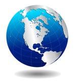 De zilveren Globale Wereld van AMERIKA Royalty-vrije Stock Afbeeldingen