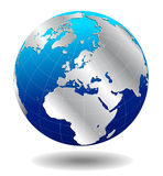 De Zilveren Globale Wereld van Europa Stock Foto