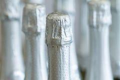 De zilveren halzen van de champagnefles en hoogste kappen bij de status van de lichte achtergrond in slijterij Stock Foto's