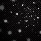 De zilveren hemel van de sterren zwarte nacht op transparante achtergrond Abstract bokeh het gloeien ruimteontwerp Sterrige melka Royalty-vrije Stock Afbeeldingen