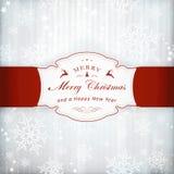 De zilveren kaart van de Kerstmisuitnodiging met etiket Stock Foto