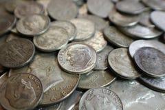 De zilveren Muntstukken van de V.S. Stock Afbeeldingen