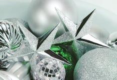 De zilveren Ornamenten van Kerstmis Stock Fotografie