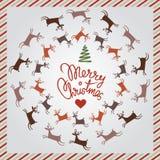 De zilveren prentbriefkaar van Kerstmis met het dansen herten Stock Afbeelding