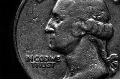 De zilveren Rijkdom en de Rijkdom van het Muntstukken Amerikaanse Geld royalty-vrije stock afbeelding