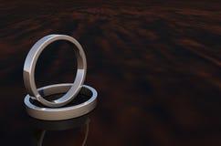 2 de Zilveren Ringen van Shinny op Woodenbase Stock Fotografie