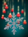 De zilveren sneeuwvlok met schittert Royalty-vrije Stock Foto