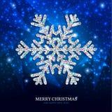 De zilveren sneeuwvlok van de Kerstmisbanner op een blauwe achtergrond Stock Afbeeldingen