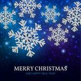 De zilveren sneeuwvlokken van de Kerstmisbanner op een blauwe achtergrond Stock Afbeeldingen