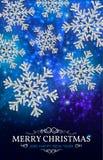 De zilveren sneeuwvlokken van de Kerstmisbanner op een blauwe achtergrond Royalty-vrije Stock Fotografie
