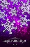De zilveren sneeuwvlokken van de Kerstmisbanner op een purpere achtergrond Stock Afbeelding