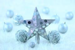 De zilveren ster van Kerstmis stock afbeeldingen