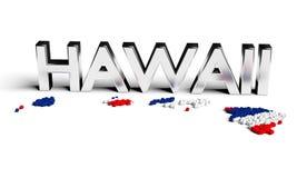 De zilveren tekst van Hawaï met kaart en vlag vector illustratie