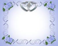 De zilveren Uitnodiging van het Huwelijk van Harten Stock Afbeelding