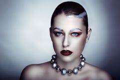 De zilveren vrouw maakt omhoog Royalty-vrije Stock Foto