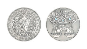 De zilveren Weegschaal van het muntstuk Astrologische teken royalty-vrije stock foto's