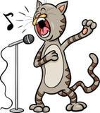 De zingende illustratie van het kattenbeeldverhaal Royalty-vrije Stock Foto's