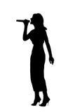 De zingende vrouw van het silhouet Stock Afbeelding