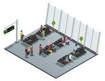 De Zitkamer Isometrische Samenstelling van het luchthavenvertrek royalty-vrije illustratie