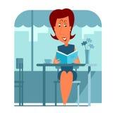 De zitting en de lezing van de vrouw een boek Stock Afbeelding