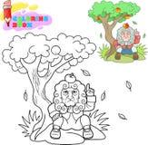de zitting van beeldverhaalnewton onder een boom met een appel op zijn hoofd royalty-vrije stock foto's