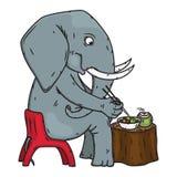 De zitting van de beeldverhaalolifant op een stoel en het eten van lunch Olifant Vector illustratie vector illustratie