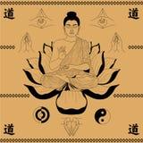 De zitting van Boedha in de lotusbloem Royalty-vrije Stock Afbeeldingen