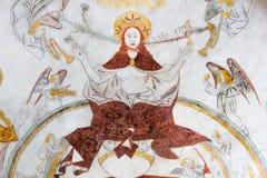 De zitting van Christus op de hemel van hemel op oordeeldag Stock Fotografie