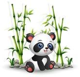 De zitting van de babypanda onder bamboestam stock illustratie