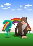 De zitting van de bavianenaap met vraagteken op aardachtergrond Stock Foto's