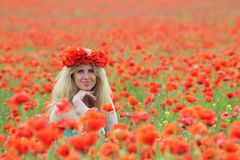 De zitting van de blond-haarvrouw in papavers royalty-vrije stock fotografie
