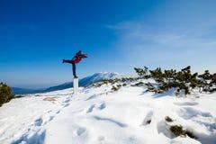 De zitting van de de winteryoga in mooie bergplaats Stock Foto