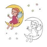 De zitting van de engelenbaby op de maan Stock Afbeelding