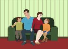 De Zitting van de familie in de Woonkamer vector illustratie