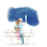 De zitting van de jongen en van het Meisje op parkBank Stock Afbeeldingen